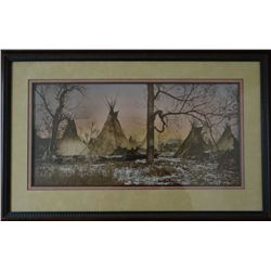 "L.A. Huffman hand tinted photo, Spotted Eagle Hostile Sioux Villag,  24""x 12"", framed, contemporary"
