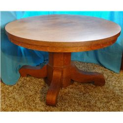 "Round oak dining table, 48"", nice cond."