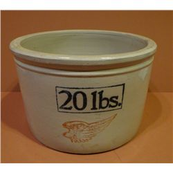 RW 20lbs. butter crock, repaired crack