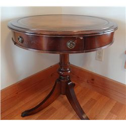 "Round table w/1 drawer, 26"" across"