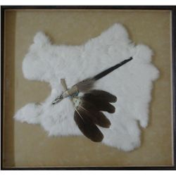 Native American peace pipe, handcarved antler w/ beadwork & turkey feathers, framed