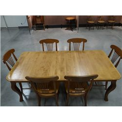 "Dining table, possibly maple, 6 chairs, 63"" x 42"", 20"" leaf, excellent condition!"