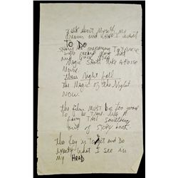 MICHAEL JACKSON HANDWRITTEN VIDEO OUTLINE