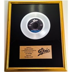"MICHAEL JACKSON IN HOUSE EPIC PLATINUM RECORD AWARD FOR ""THE GIRL IS MINE"""