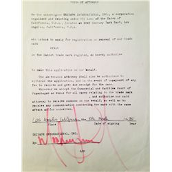 MICHAEL JACKSON SIGNED POWER OF ATTORNEY DOCUMENT
