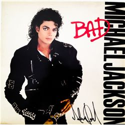 MICHAEL JACKSON SIGNED BAD ALBUM COVER