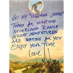 MICHAEL JACKSON HANDWRITTEN  INITIALED NOTE ON NEVERLAND VALLEY RANCH STATIONARY