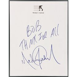 MICHAEL JACKSON SIGNED AND INSCRIBED STATIONARY