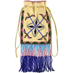 Fine beaded on native tan bag C. 1910-1920's
