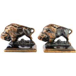 Classic pair copper buffalo bookends