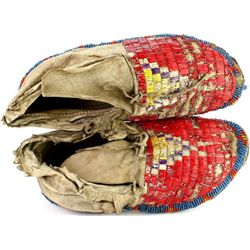 1870-1880's Sioux moccasins with quill tops,