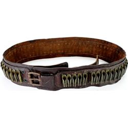 Early leather and brass rifle cartridge belt