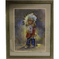 Framed and matted colored lithograph