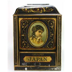 Tin lithograph bulk tea caddy advertising Japan