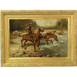 Large oil on canvas painting depicting cowboys