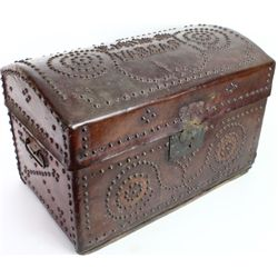 Fine leather brass and tacked trunk in wonderful