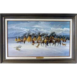 """""""Home from the Hunt"""" original oil on board"""