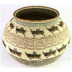 Large beautiful basket tightly woven