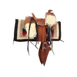 Miniature half scale leather saddle, square skirt,