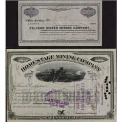 Collection of 2 early mining stock certificates