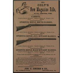 Original 1883 Colt hand bill advertising Colts