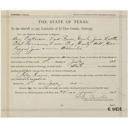 Original 1895 state of Texas summons