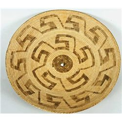 """Large 19"""" Pima basketry tray with whirling log"""