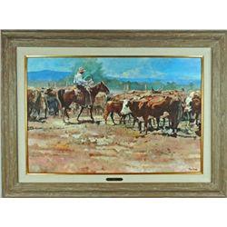 """Sortin"" original oil by Tom Dorr, noted western"