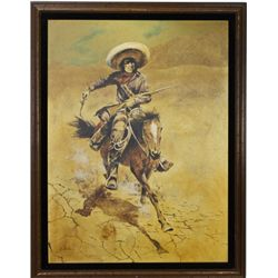 Vintage oil on canvas painting Mexican Bandito