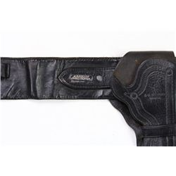 Black leather gun holster rig double loop with