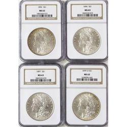 Collection of 4 Morgan Silver Dollars