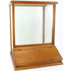 Oak and glass bulk dispenser from early