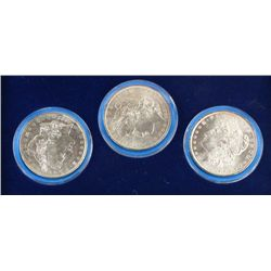 Cased set of 3 Morgan Silver Dollars