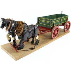Vintage miniature wagon and team hand carved