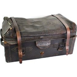 Early antique Stagecoach leather bound trunk