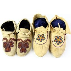 Collection of 2 pair childs moccasins
