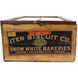 Glass front antique buscuit box