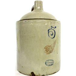 No. 5 Red Wing stoneware whiskey jug,