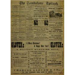 Jan. 1 1882 Tombstone Epitaph Newspaper,