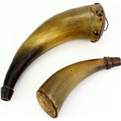 Collection of 2 early powder horns