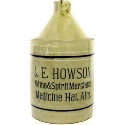 Scarce antique stoneware advertising whiskey jug