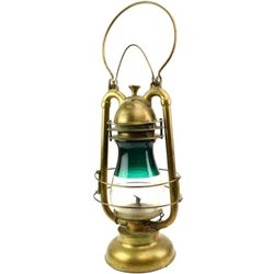 Antique brass railroad signal lantern