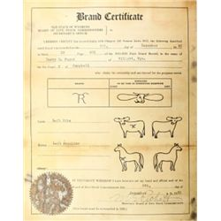 1920 brand certificate for Harry Sager Hilight