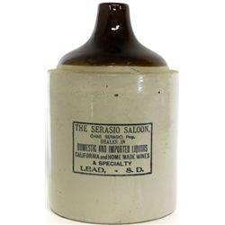 Antique stoneware advertising whiskey jug