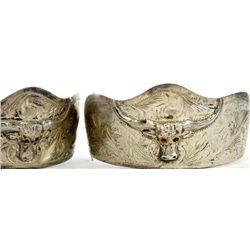 Pair sterling silver boot heels with longhorns