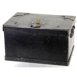 Original iron strong box with hinging top lid
