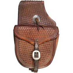 Brown leather saddle bags fully basket stamped