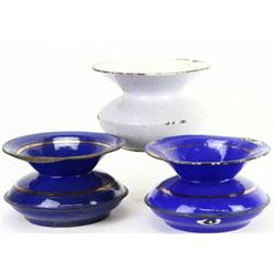 Collection of 3 enamel spittoons.