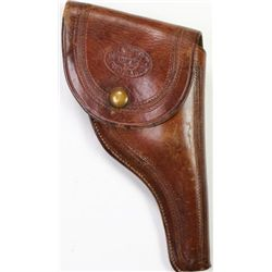 Knox & Tanner stamped brown leather flap holster
