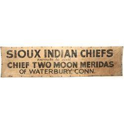 "Original canvas banner ""Sioux Indian Chief"